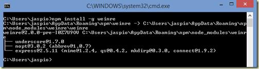 Installing Weinre via npm