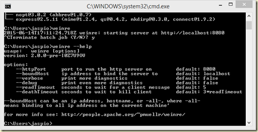 Running Weinre from the command line